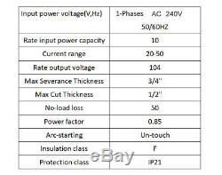 50A Plasma Cutter 240V 60% duty CUT50P Pilot Arc CNC Compatible WSD60p torches