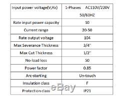50A Plasma Cutter Pilot Arc 110/220V CNC Compatible 3/4-Inch CUT + WSD60p torch