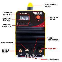 Pilot Arc Air Plasma Cutter 50A CUT50p Inverter CNC Cutting Machine 110/220V