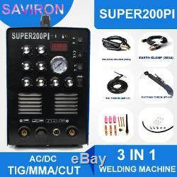 TIG/MMA/CUT Welding Machine AC/DC Aluminum Steel IGBT Welder 200A Plasma Cutter
